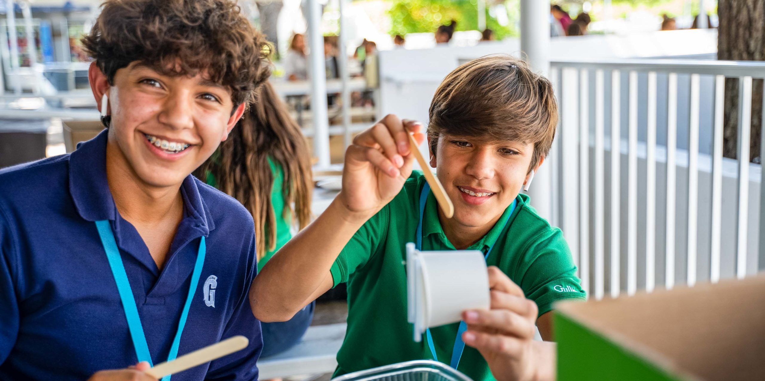 Two boys working on a STEM project