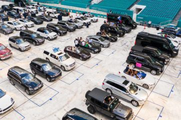 Cars parked at the grad arena