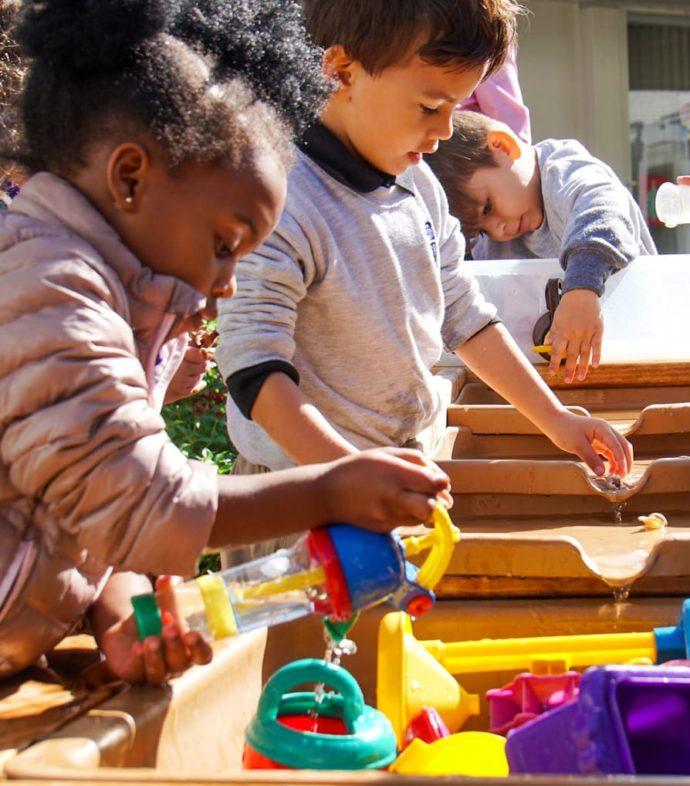 Kindergarten kids playing outside