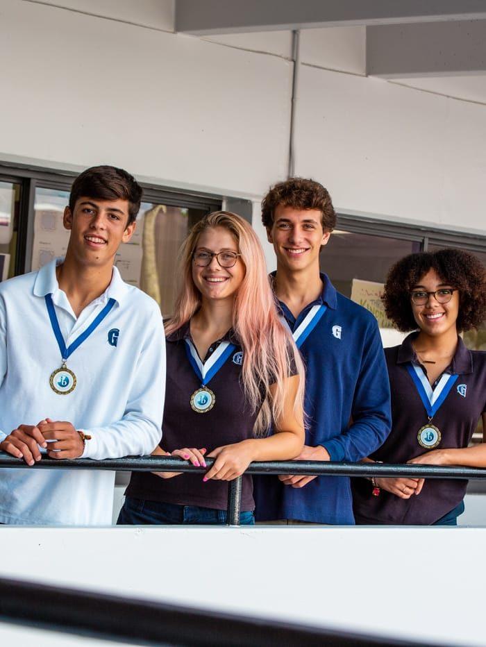 upper school students smiling