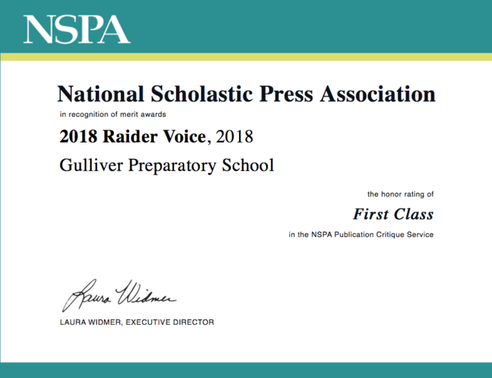 national scholastic press association certificate