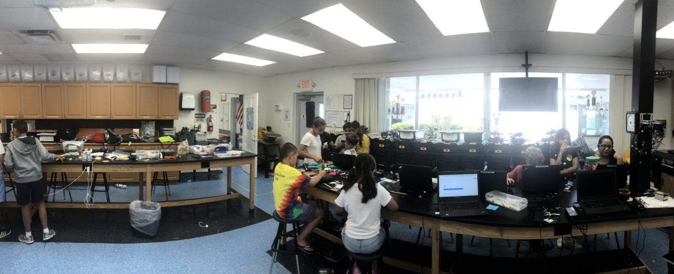 Students doing engineering projects.