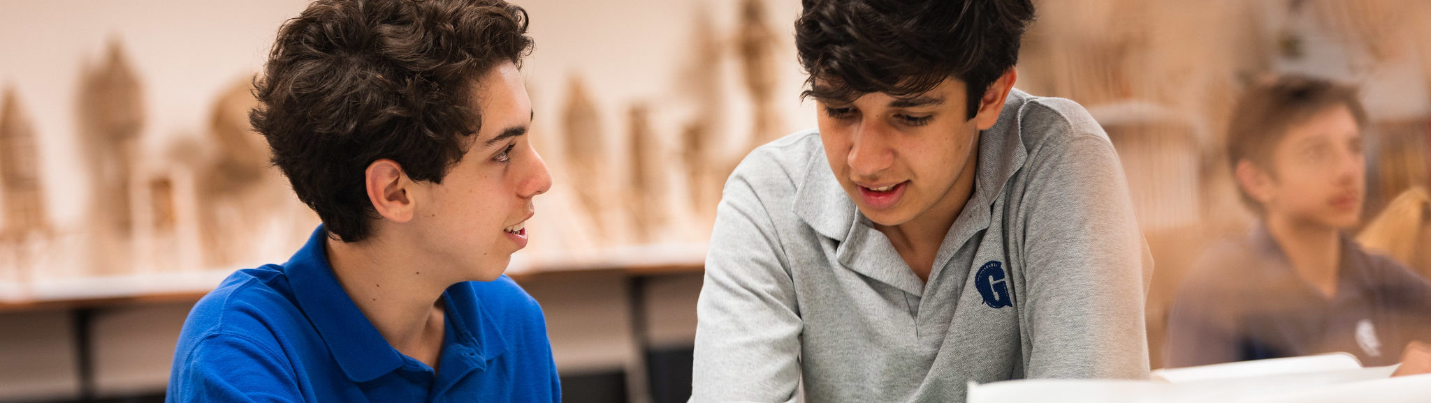Two students talking.