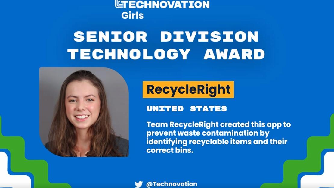 "Technovation Award Announcement for Victoria ""Tori"" Hagenlocker app RecycleRight"