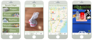"Screenshots of Victoria ""Tori"" Hagenlocker App RecycleRight"
