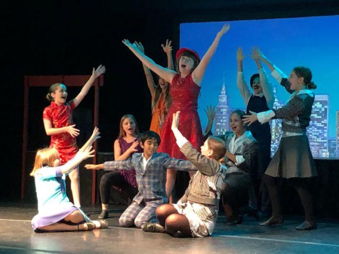 Kids performing at Gulliver Broadway camp.