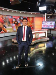 Carlos Yustis '05 anchoring at Telemundo