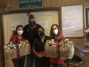 Upper School music students gave back to veterans and their families by writing letters of thanks to the veterans and giving them two gift baskets with Thanksgiving goods for the Post's members.