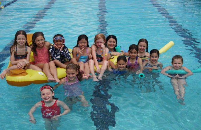 Kids swimming at Camp Gulliver.